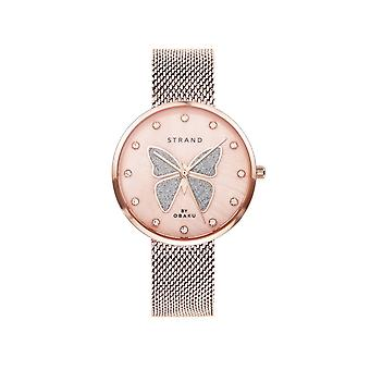 Strand By Obaku S700LXVWMV-DB Butterfly-Rose Mesh Wristwatch