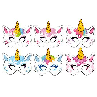 6 Unicorn Printed Card Masks for Kids Party Bags
