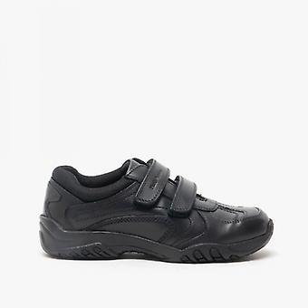 Hush Puppies Jezza 2 Junior Boys Leather School Shoes Black