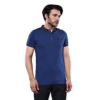 Men's blue polo shirt navy detailed | wessi