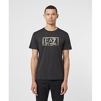 EA7 Emporio Armani Cotton Printed Logo Stretch Black T-shirt