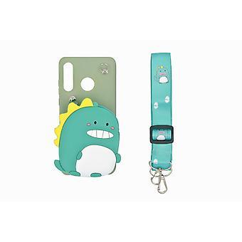 3D mobile shell Huawei P30 Lite, indbygget tegnebog - Dinosaur, grøn