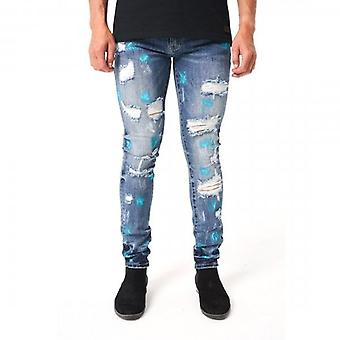 Amicci Trento Skinny Fit Stretch Mid Blue Denim Rip & Paint Jeans