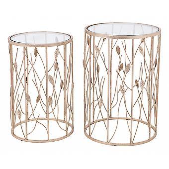 Set of 2 Gorgeous Gold Leaf Side or End Tables