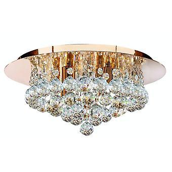 Hakuvalo Hanna - 4 vaalea katto semi huuhteluvalo kultaa kristalleilla, G9