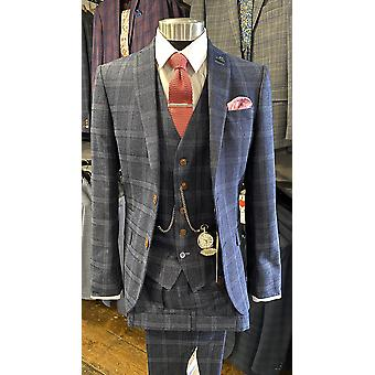 Navy With Blue Check Tweed Suit Jacket