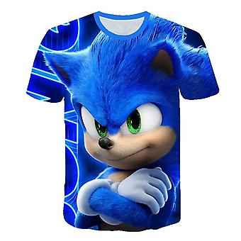 Cartoon Print Sonic Hedgehog T Shirt Streetwear Clothes, O-neck Set-1