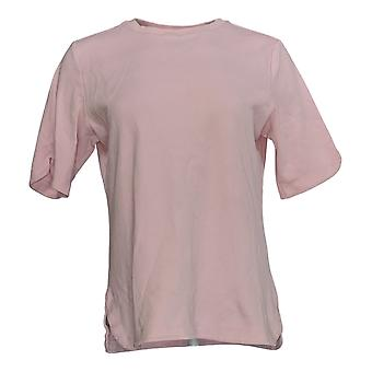 Isaac Mizrahi ao vivo! Mulheres'top essentials Elbow Slv Crew Neck Pink A306543
