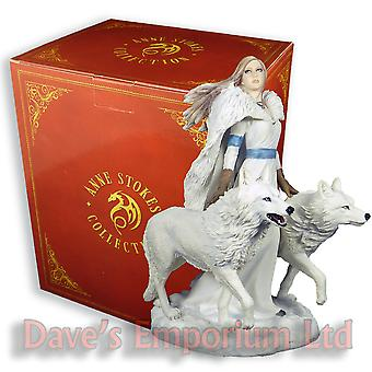 Winter Guardians Figurine - Anne Stokes - Fantasy White Wolf Wolves Statue 23cm
