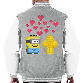 Despicable Me Minion Pixel Love For Fire Hydrant Men's Varsity Jacket
