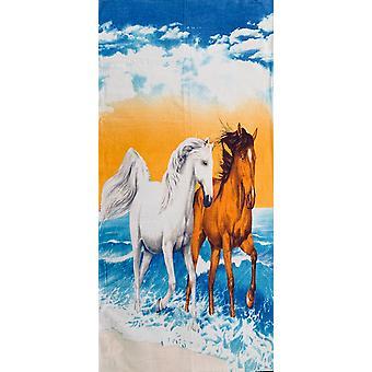 Aqua Perla Turc Cotton Beach Towel Horses