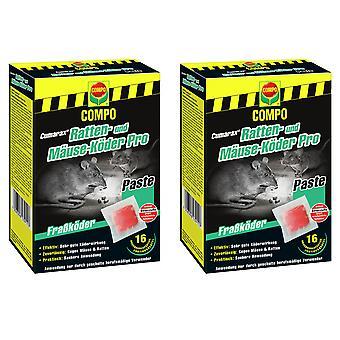 Sparset: 2 x COMPO Cumarax® rat and mice bait Pro, 240 g