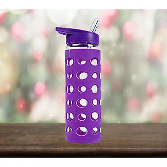 Summit MyBento 550Ml Glas Eco Bottle Sports Lid & Silicone - 1 Enhed PLUM Flaske