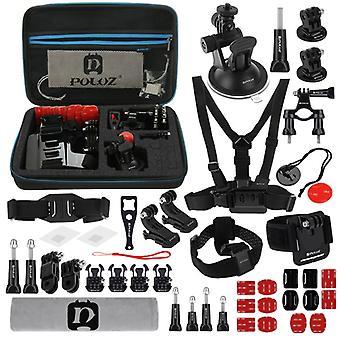 PULUZ 45 en 1 Accessoires Ultimate Combo Kits avec boîtier EVA (Chest Strap + Suction Cup Mount + 3-Way Pivot Arms + J-Hook Buckle + Wrist Strap + Helmet