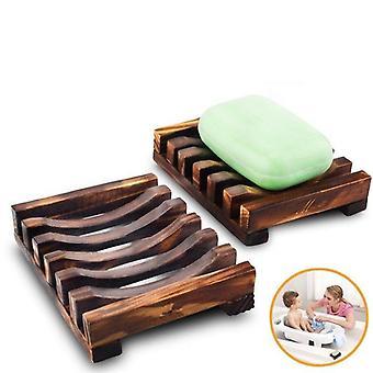 naturlig bambus tre og bærbar såpe retter brett