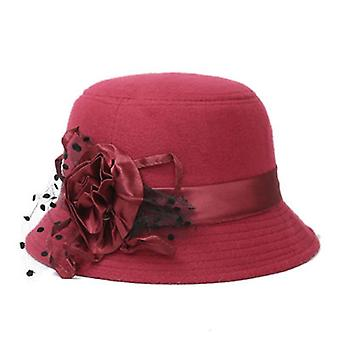 Elegant Formal Fedora Bowler Fashion Vintage Hat Imitation Woolen Flower Warm