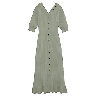 Japanese Style Elegant Women V-neck Half Sleeve Slim Fit Dress