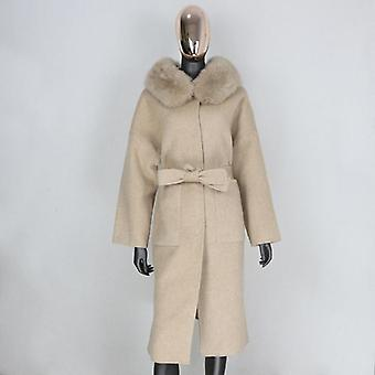 Cashmere Wool Blends Real Fur Coat Winter Jacket Streetwear