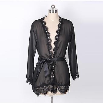 Frauen Sommer Herbst Perspektive Robe Sets Sexy Spitze Bademantel transluzent