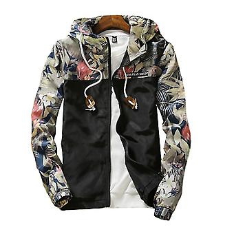 Women's Hooded Jackets, Spring, Autumn Floral Causal Windbreaker, Women Basic