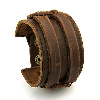 Bracelet double large unisex leather cuff