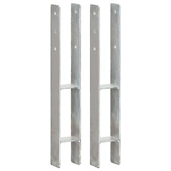 Post carrier 2 pcs. silver 8×6×60 cm Galvanized steel