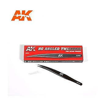 AK Interactive AK9161 HG Angled Tweezers 01 Thin Tipped