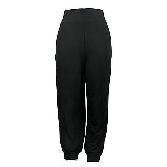 Quacker Factory Women's Petite Pants Jogger Metallic Stripe Black A391965