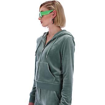 Juicy Couture Robertson Velour sudadera con capucha delantera con cremallera verde 55