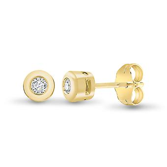 Jewelco London Ladies Solid 9ct Yellow Gold Rub Over Set Round H I1 0.1ct Diamond Solitaire Stud Boucles d'oreilles