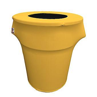 La Linen Stretch Spandex Trash Can Cover 44-Gallon Round,Yellow