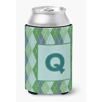 Erste Buchstabe Q Monogramm - blau Argoyle-Dose oder Flasche Getränk Isolator Hugger
