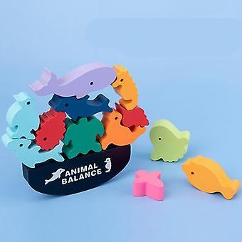 Montessori puinen eläinten tasapaino lohkot lauta pelit lelu