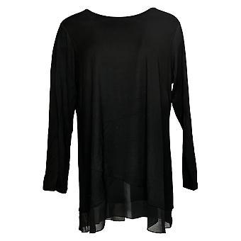 Joan Rivers Women's Top Long Sleeve Jersey Swing Detail Black A391077