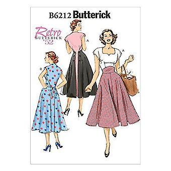 Butterick Syning Mønster 6212 Misser Vintage Kjole 52 'Størrelse 14-22