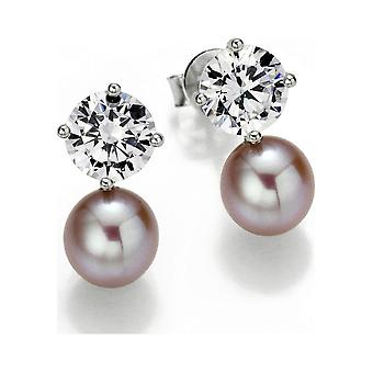 Adriana Pearl Ear Plugs Freshwater and Zirconia White Silver Rhodiumed S4-R