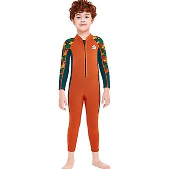 Kids wetsuit long sleeve one piece uv protection thermal swimsuit dfse-19