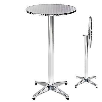 tectake Cafebord i aluminium Ø60cm - 6,5 cm, foldbar