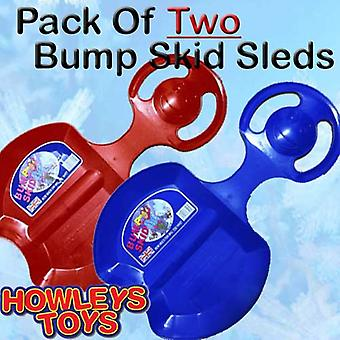 Set Of Two Bump Skid Sled / Sledges -1 red & 1 Blue