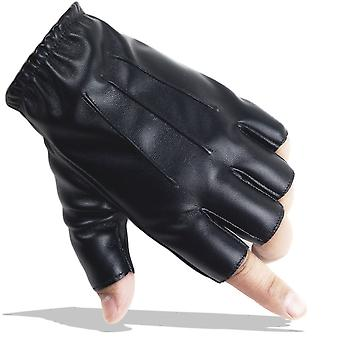 Pu Leather Gloves Elastic Half Finger Gothic Short Gloves Black