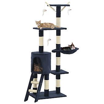 vidaXL škrabanie mačiek so sisalovými stĺpmi 138 cm tmavomodrá