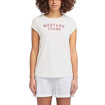 MUSTANG Flockprint Tee T-Shirt, Beige (Cloud Dancer 2020), X-Large Woman