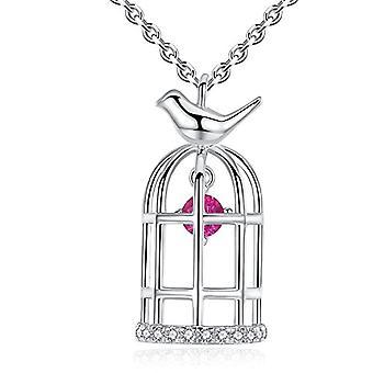 GemShadow women girls 925 sterling Silver Dancing Cubic zirconia Birdcage necklace
