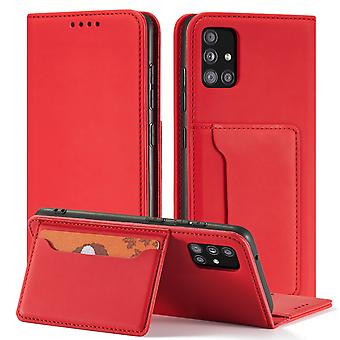 Flip folio leather case for samsung a10 red pns-408