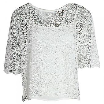 Paola Collection Delicate Open Knit 3/4 Sleeve Top
