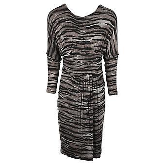 Isabel De Pedro Beige Zebra Print Batwing Long Sleeve Dress With Ruched Detail