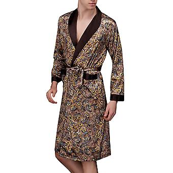 YANGFAN Men's Robe Nightgown Long-Sleeve Pajamas Printed Bathrobes