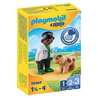 プレイセット 1,2,3 犬プレイモービル付き獣医 70407 (2個)