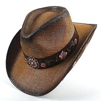 Model floral brodate din piele Cowboy Hat