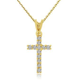 LXR 14K Yellow Gold Diamond Cross Pendant